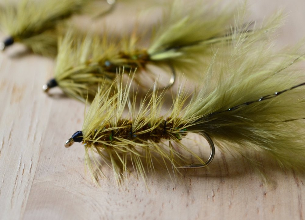 A classic first fly pattern: an Olive Wooly Bugger.