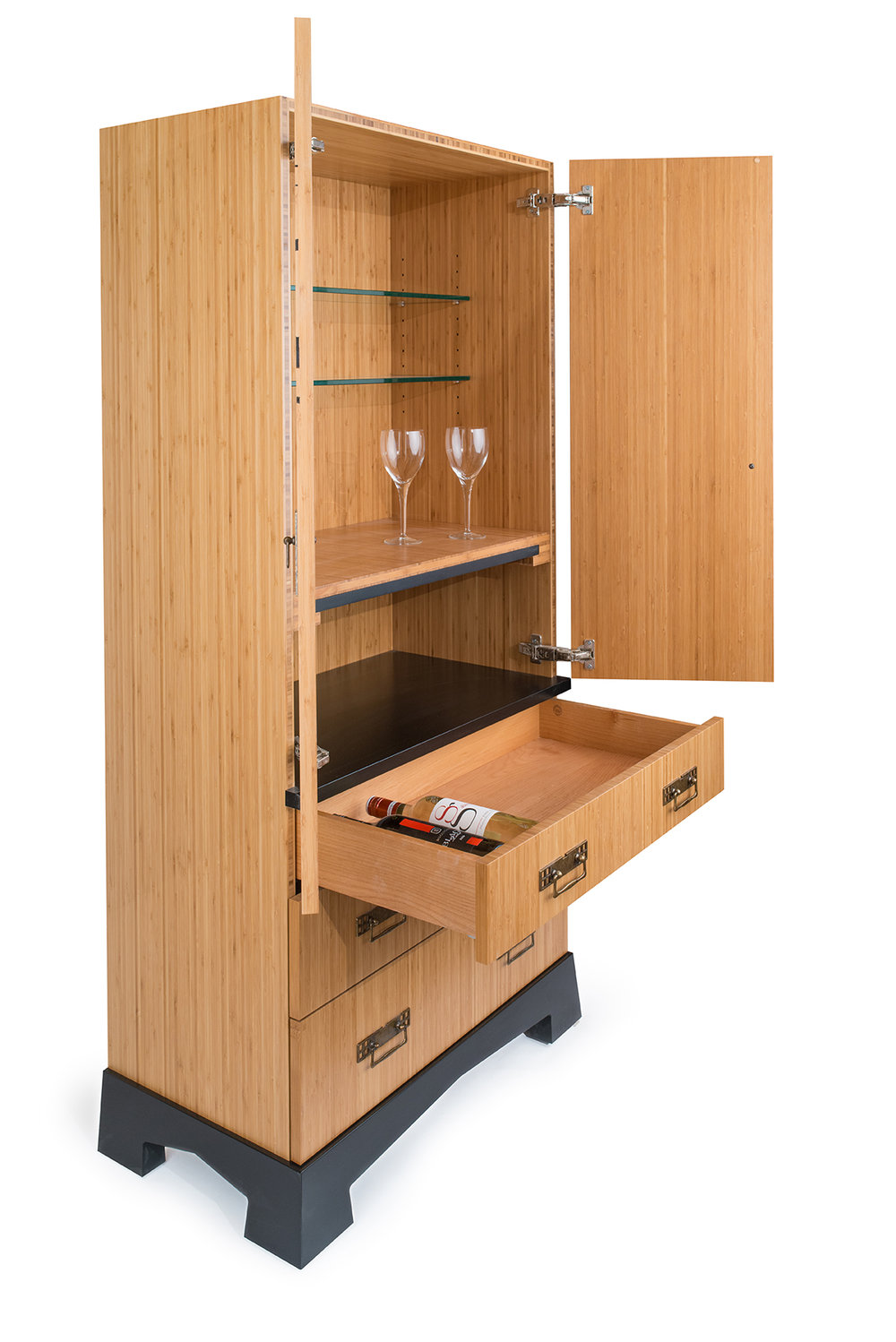 Bamboo Plywood, Alder, Paperstone Pull Out Shelf And Glass Shelves. Lacquer  Finish
