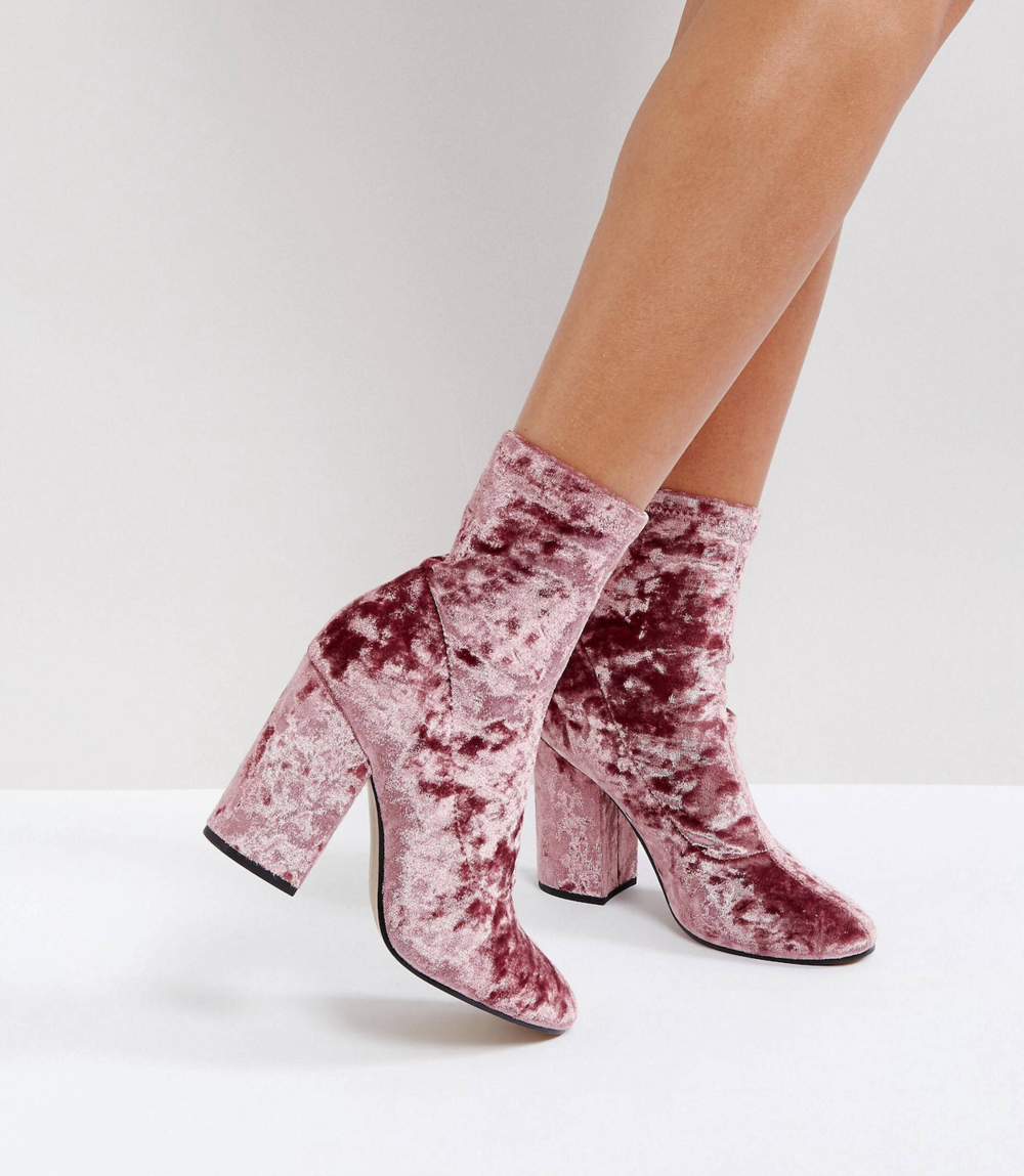 Velvet Sock Boots - I just love these pink velvet sock boots! While they also probably aren't your every day