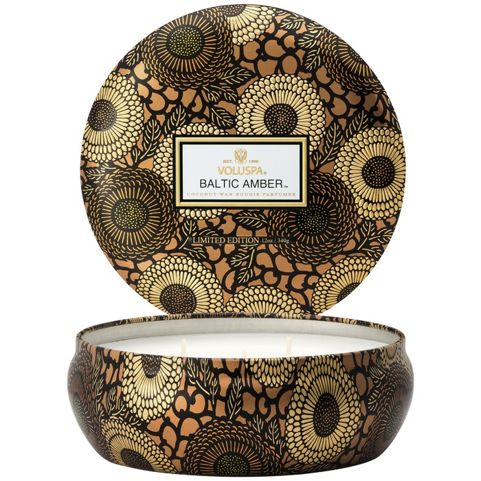 Voluspa Baltic Amber Candle - Voluspa is another one of my favorite brands of candles -the unique round decorative tin is perfect atop a coffee table. This beautifully patterned metallic tin comes in 12 different fragrances. I truly love all twelve, but the Baltic Amber fragrance tops the list. I've had this candle burning in my house multiple times, and without fail people always compliment how nice my house smells. The scent is a subtle blend of amber resin, sandalwood, and vanilla orchid. Perfect for everyday.