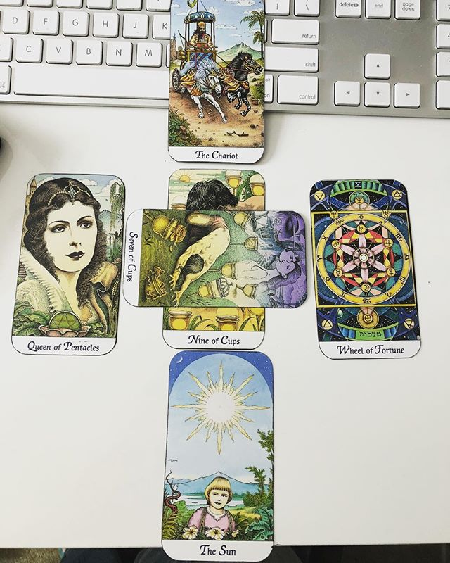 Today's study break and mini tarot spread.  I like it and I'm warming up to my trimmed/edged Cosmic Tarot deck.  #tarotreadersofinstagram #tarot #tarotreading #tarotcards #tarotcardreading #tarotspread
