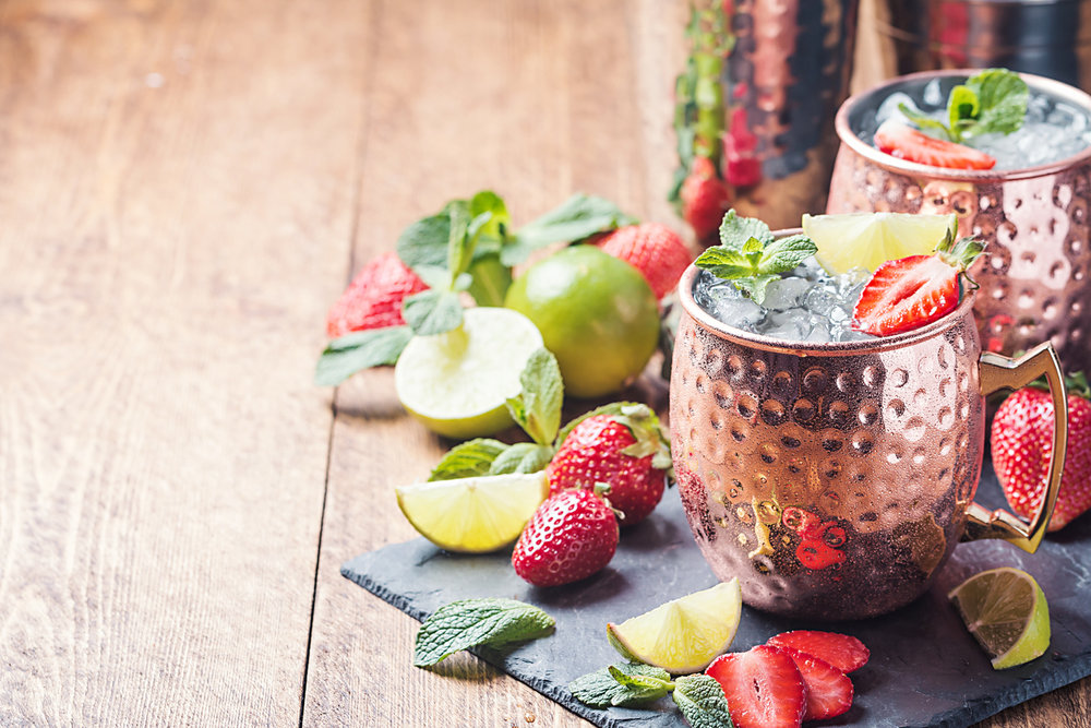 Strawberry Mule - 1.5 oz / 75 ml. vodka3 strawberries0.5 oz / 15 ml. lime juice5 oz / 150 ml ginger beer1 cup crushed iceMuddle strawberries in the bottom of a Moscow Mule mug or other serving glass.Add vodka and lime juice.Add crushed ice.Add ginger beer and stir gently.Garnish with a fresh strawberry and serve.