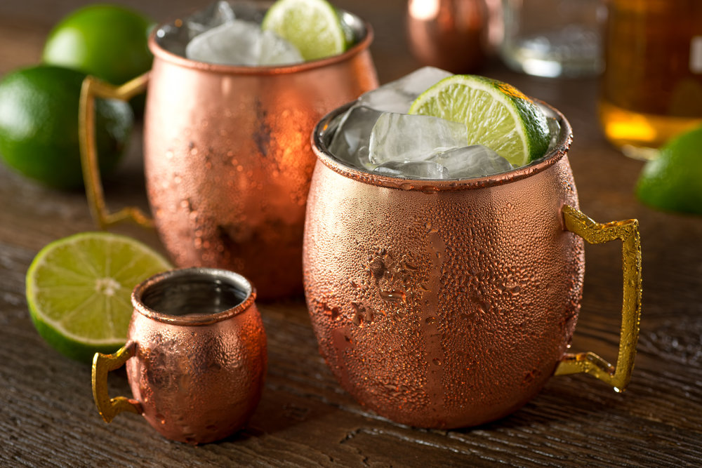 Traditional Moscow Mule - 2 oz. / 60 ml. Vodka8 oz. / 240 ml. ginger beer.5 oz./ 15 ml. lime juiceAdd all ingredients in a mug (preferably copper) or collins glass with ice. Garnish with lime wedge.