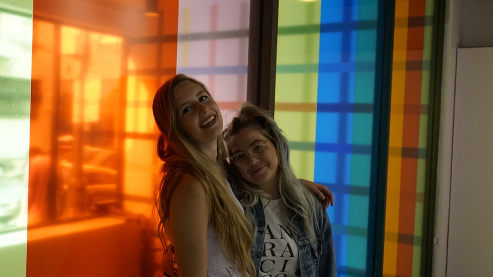 Rachel and I posing in front of the colored windows.