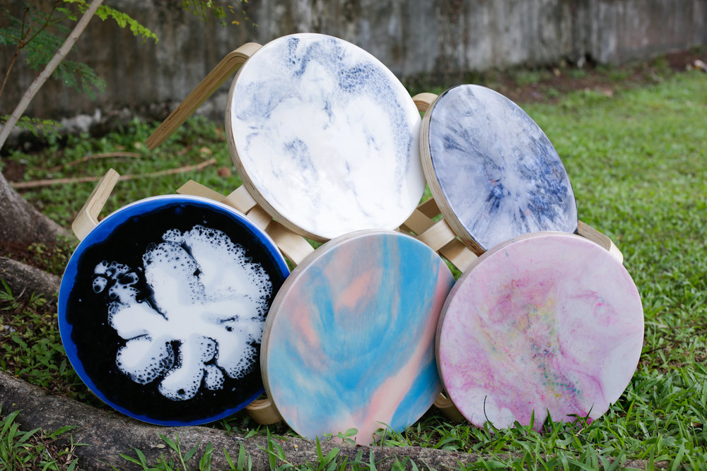 Different Resin Designs on Stools