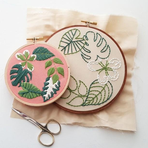 "Say ""aloha"" to @urbansproutsstore's fresh, tropical prints during their embroidery class! . . . . . #aloha #leaves #tropical #pink #green #embroidery #artsandcrafts #craftsmanculture #craftsy #craftsforkids#craftstore #craftswoman #craftstutorial #craftspire#craftshop #craftstagram #craftshowprep#craftsale #craftsofinstagram #diy #artsandcrafts #screenprinting#embroidery #artsy #seattle #sew"