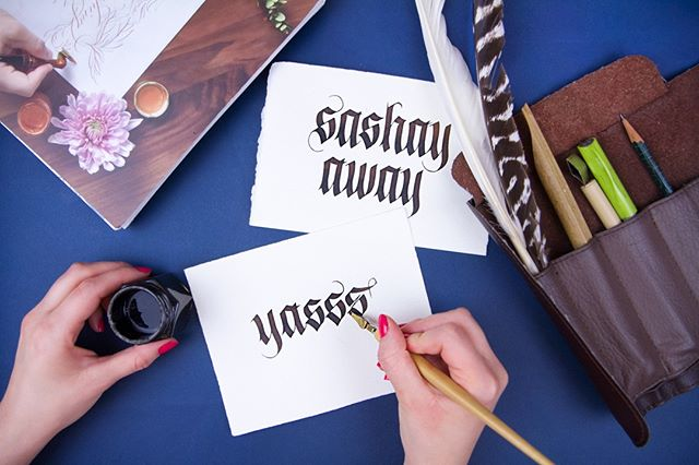"We'll always say ""yasss"" to one of @larklettering's calligraphy workshops! . . . . . . . . #seattle #seattlewa #diy #writing#fountainpen #brushlettering #moderncalligraphy #artsandcrafts #stationery #crafty #greetingcards #sashayaway #blue #weekend #yasss #lettering #typography #handwritten #type #design #calligraphy #calligraphyworkshop #handwriting #watercolor #watercolour #letteringart #brushpenlettering #marble"