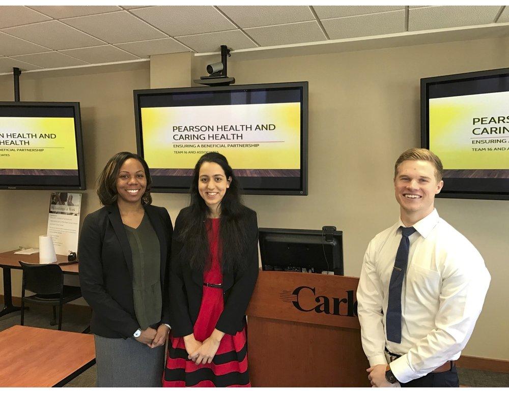 2016 Loyola Transactional Moot Court Team members Amanda Ray, Sarah Ahmed, and Daniel Walbright