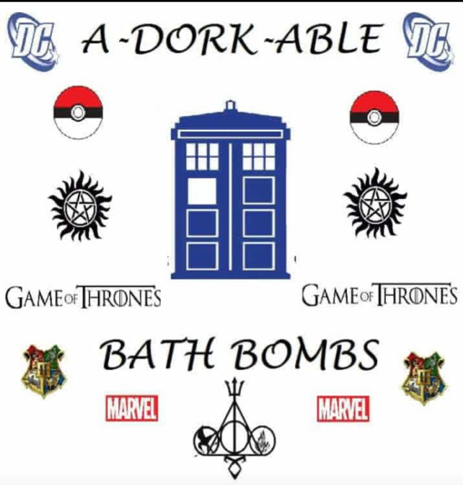 "A-Dork-able Bath Bombs - We would like to take a moment and welcome A-DORK-ABLE Bath Bombs to WillCon!A-DORK-ABLE Bath Bombs was created by two sisters that just wanted to make being a ""geek "" fun and affordable. They will have unique items like bath bombs (with fandom jewelry inside), pillows, jewelry, soaps, and much more. Everything will be $5 or less. Be sure to stop by their booth and check out their awesome items!Welcome to WillCon A-DORK-ABLE Bath Bombs!!!! We are thrilled to have you!"