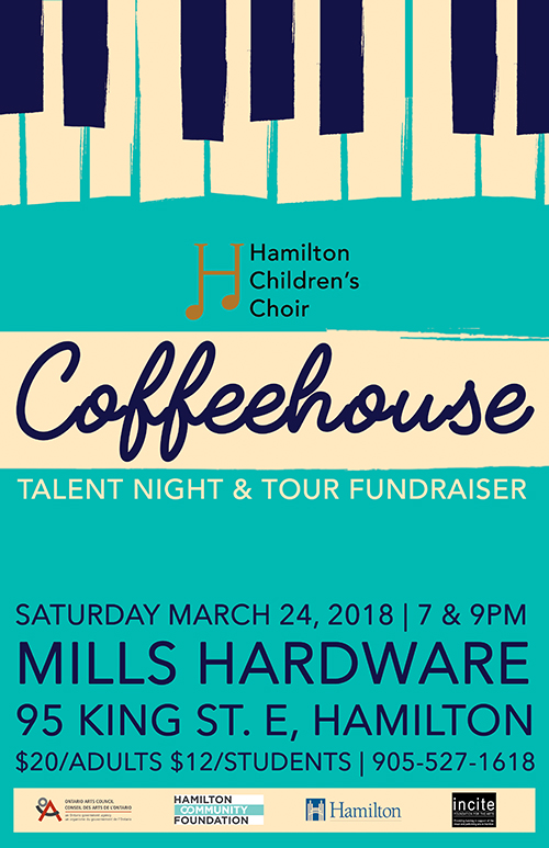 HCC Coffeehouse: talent night and tour fundraiser - Saturday March 24, 2018TWO PERFORMANCES: 7PM & 9PM (two unique shows)Mills Hardware, Hamilton ONTickets available through choir families or by phone at 905-527-1618