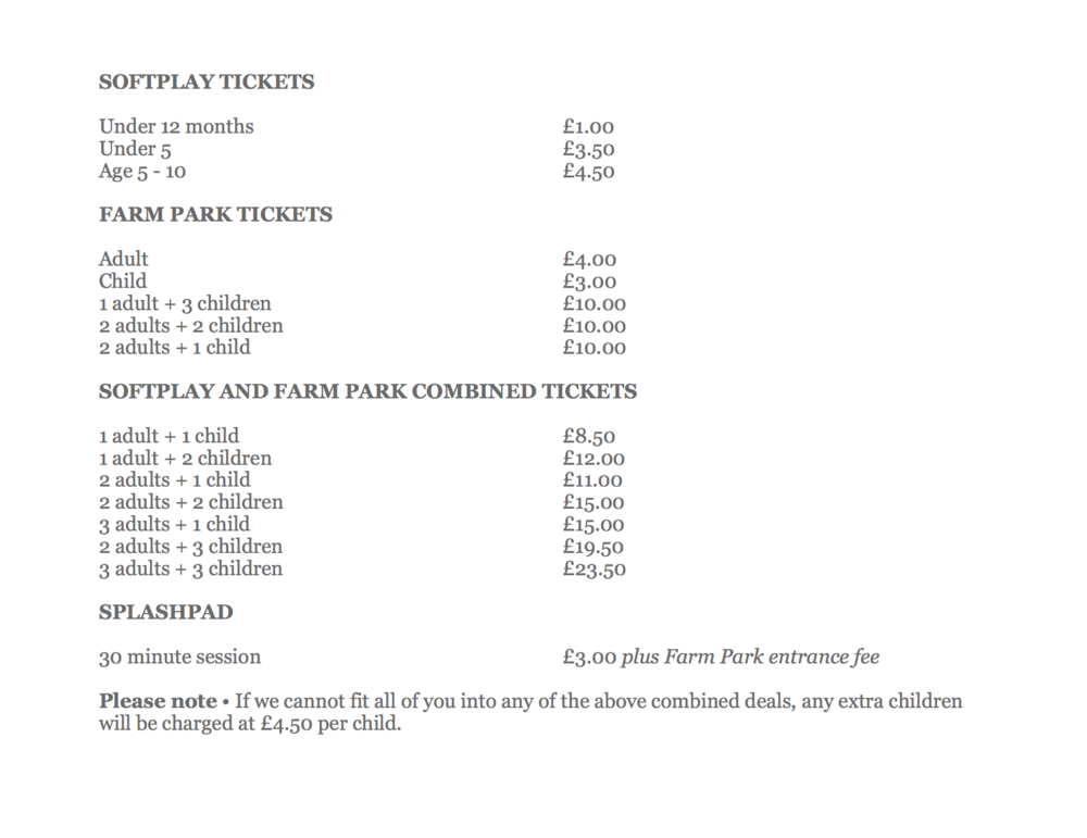 softplay admission prices