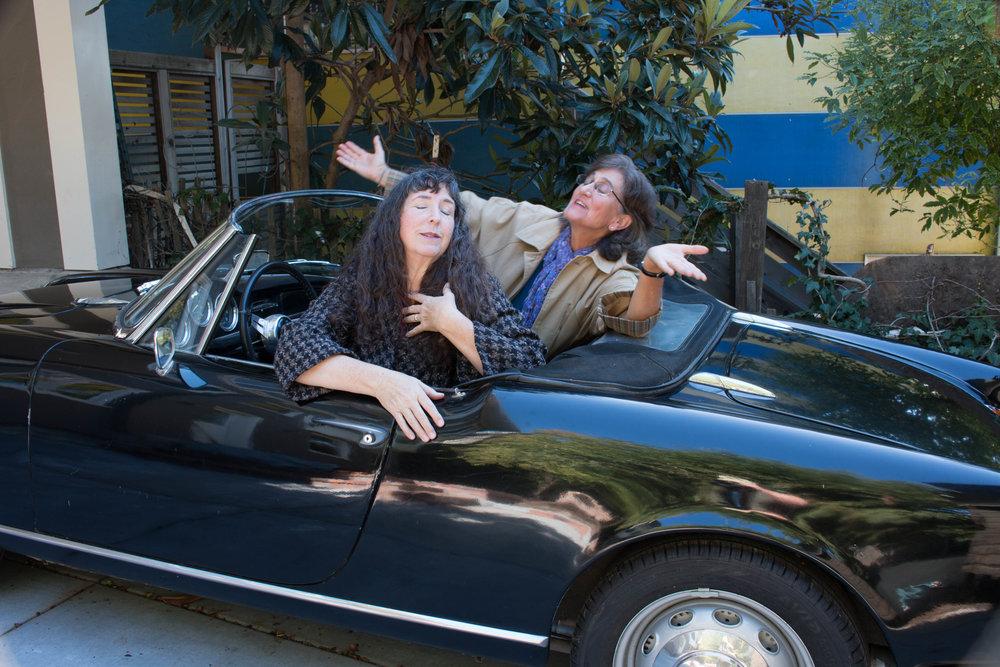 Celia-Libby car singing postcard?.jpg
