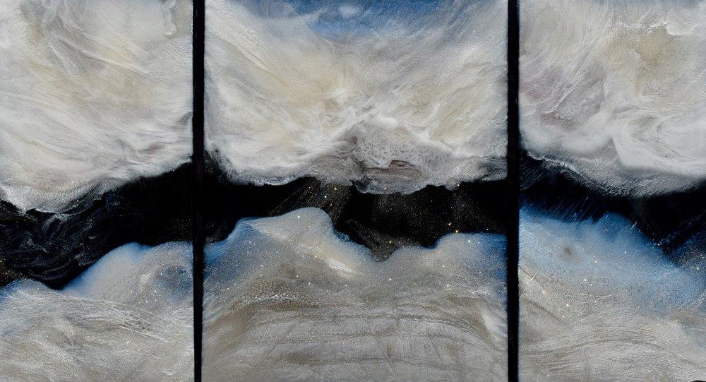 """""""Resurrection"""". Mixed Media on Canvas 24""""x42"""". $1750.00"""