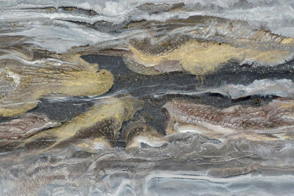 """Bird's Eye View"", Detail. Mixed Media on Canvas 24""x48"". $2000.00"