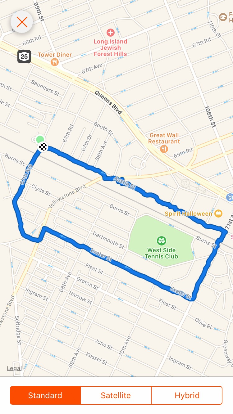 My current  2.5 mile route logged through Strava