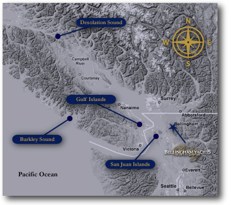 Click map to learn more at Pacific Northwest Charters our sister website.