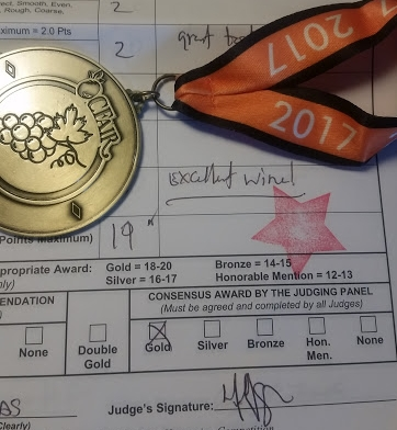 Award from Orange County Fair - Homemade Wine