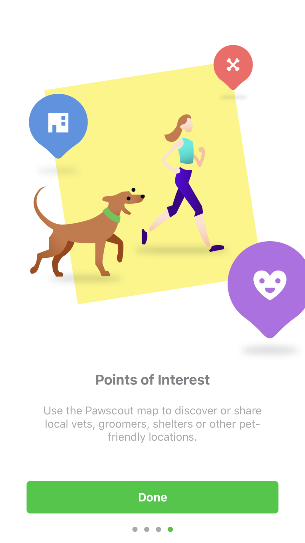 GPS/FITBIT: Not only does the app track the location/how far your pet has played/walked outside, but you can track the time and even use the map the discover local points of Interest like pet friendly places, parks and local vets!
