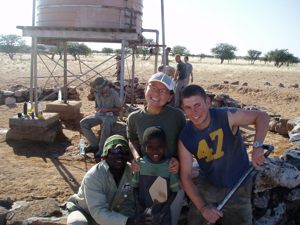 Volunteer for the Elephant Human Relations Aid, Namibia.  Along with other volunteers, I helped build a wall around a water well for the local farmers which prevents elephants from entering. As the elephants are no longer entering and a threat to local farmers' water resources, they are less likely to be shot.