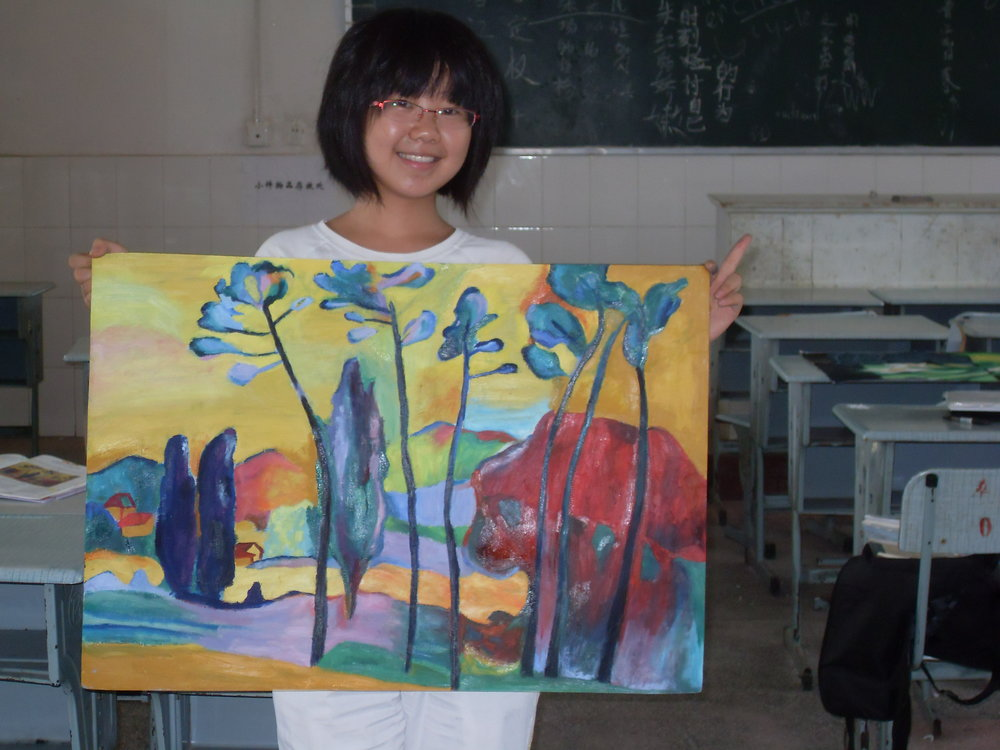 Teaching volunteer, rural China. Designed a climate change class and taught oil painting techniques to children.