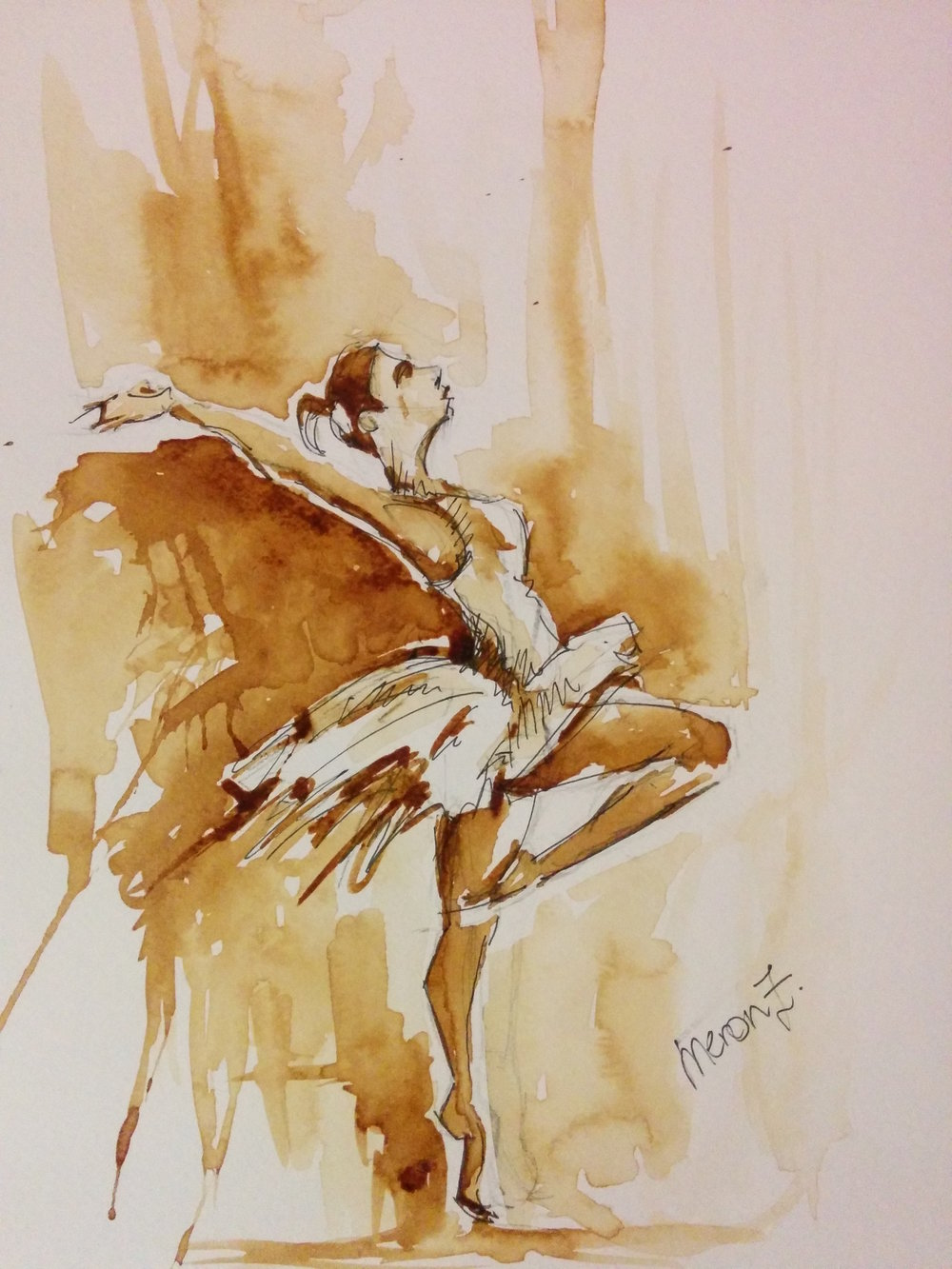 "Ballet lady , Coffee on paper 11"" X 14"""""