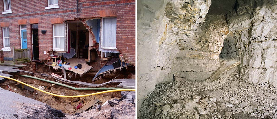Image: Left – Field Road house collapse (credit Peter Brett Associates). Right – Reading chalk mine caves (credit Nick Catford)