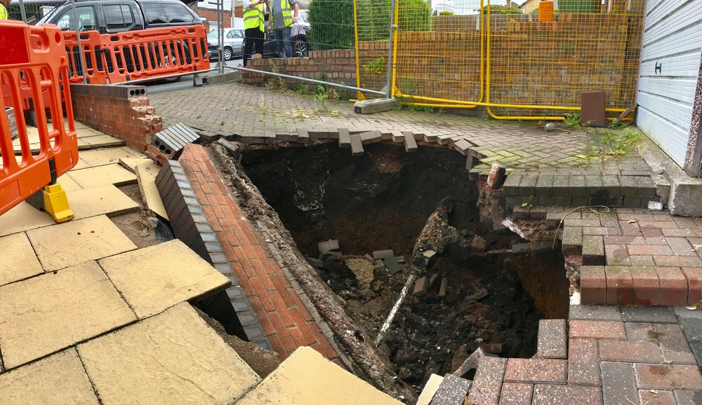 Figure 1: Sinkhole appears in driveway of property in Wednesbury in August 2017.