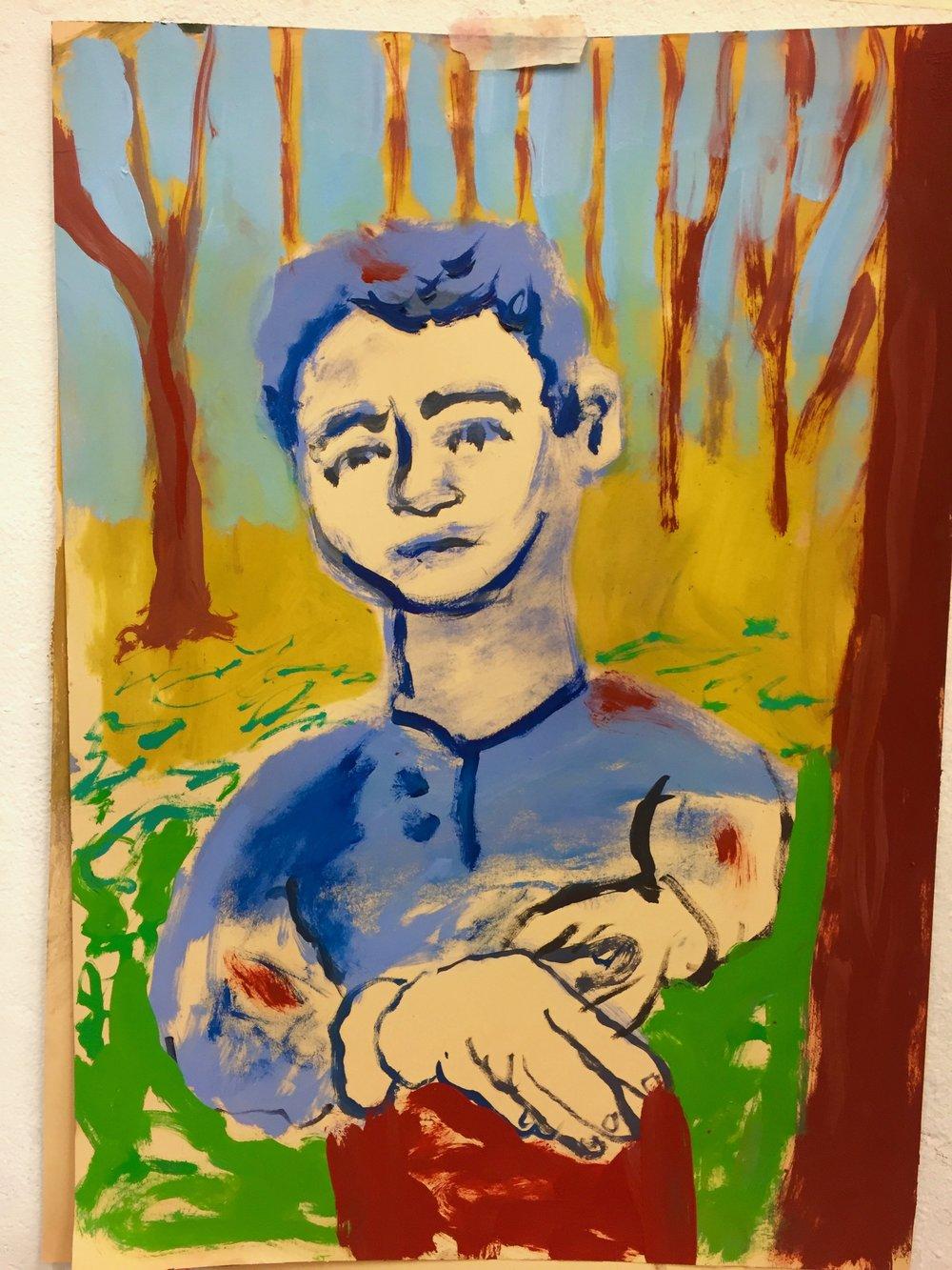 Self portrait, 2017. Oil on paper, 18x24 inches.