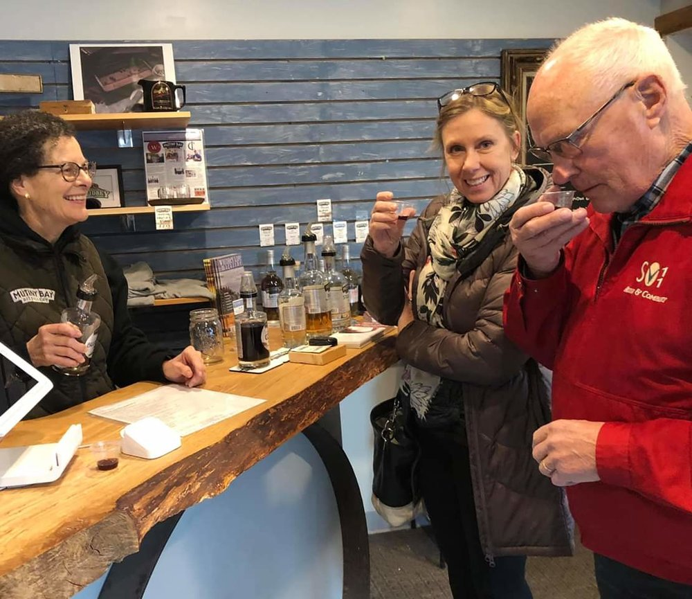 """Stopped by a distillery yesterday for some whiskey tasting!  Great little mom and pop place with some great products!"" - Facebook post from a Mutiny Bay Distillery visitor!"