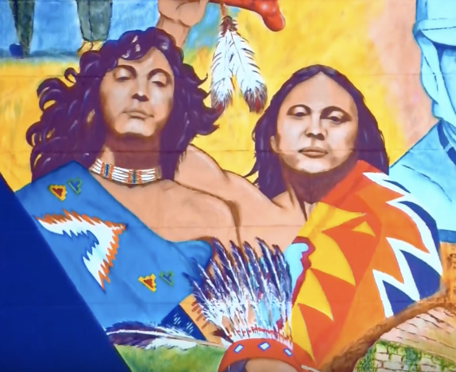 Tony Bellamy and Lolly Vasquez of Redbone depicted in Fresno California's largest mural