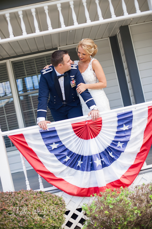 red, white & blue bridal portrait