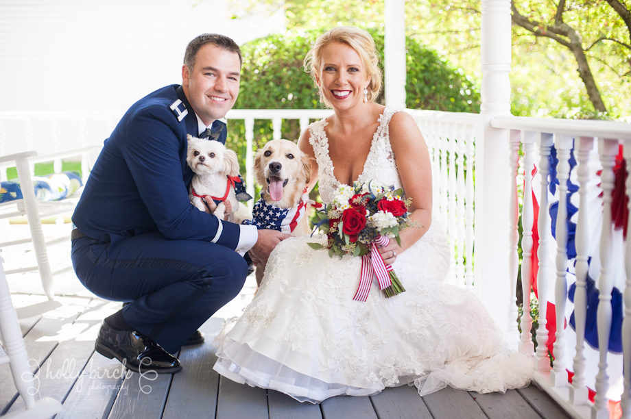 Groom, bride & dogs
