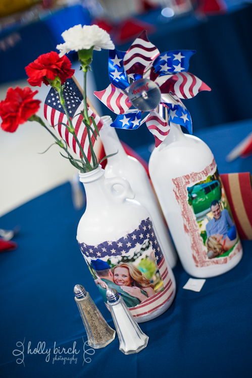 red, white & blue centerpieces