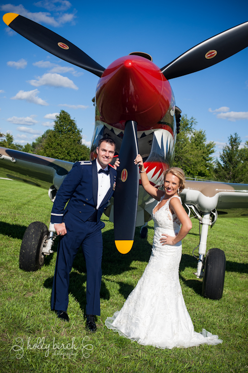 Bride & groom with propellor