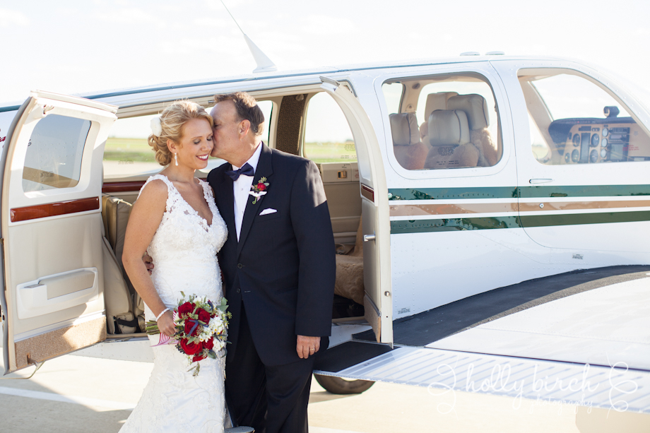 Bride and father of the bride before takeoff