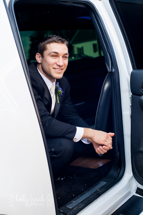 groom in limo