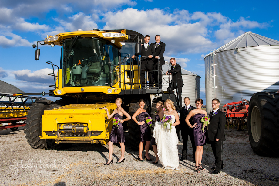bridal party with combine