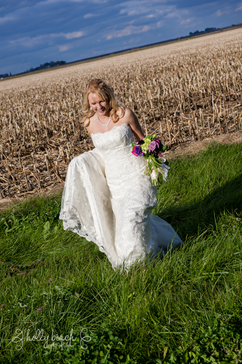 Bride walking in ditch
