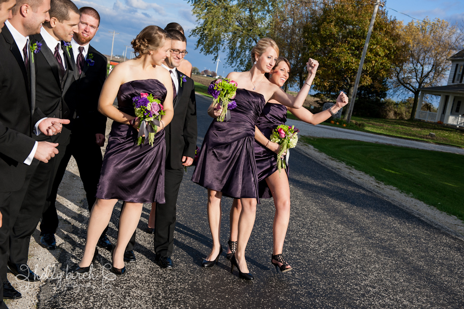 Bridesmaids hitching a ride