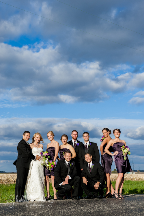 wedding party with storm clouds