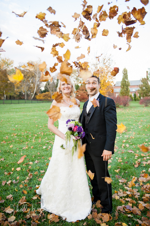 fall wedding leaves