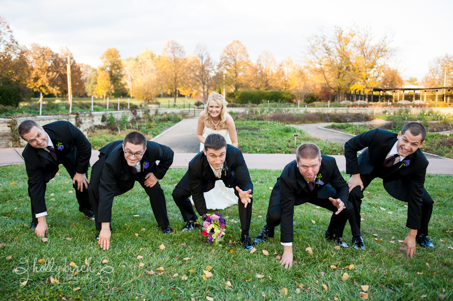 groomsmen football pose