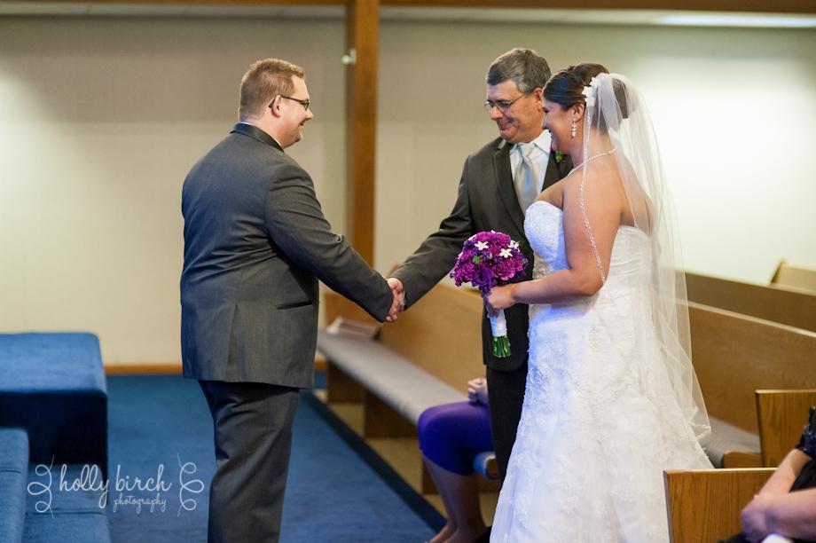handing off the bride