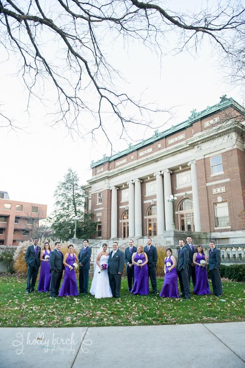 wedding party at Foellinger Auditorium