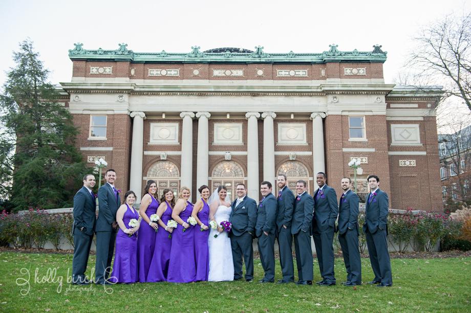 wedding party on University of Illinois Quad