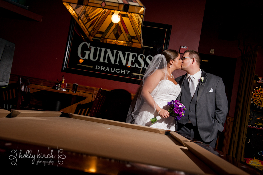 bride and groom with pool table