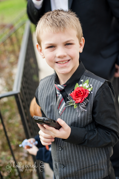 bride's son on cell phone