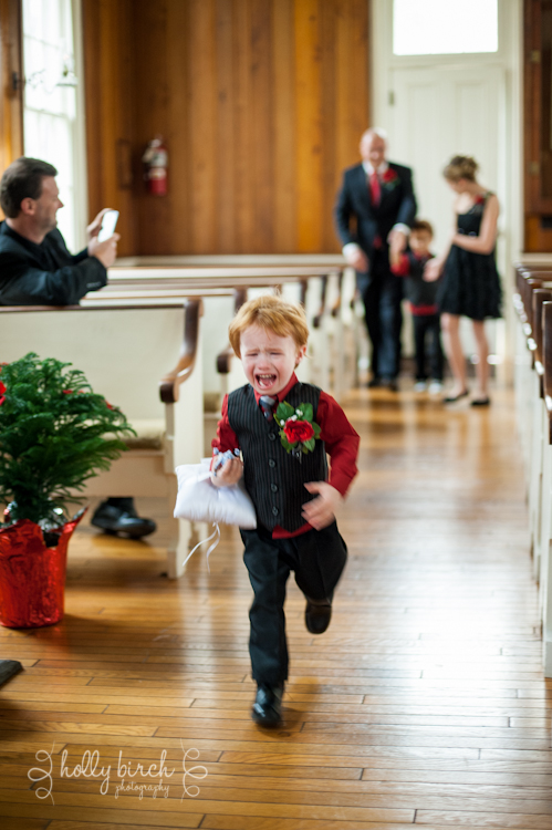 ring bearer crying down the aisle