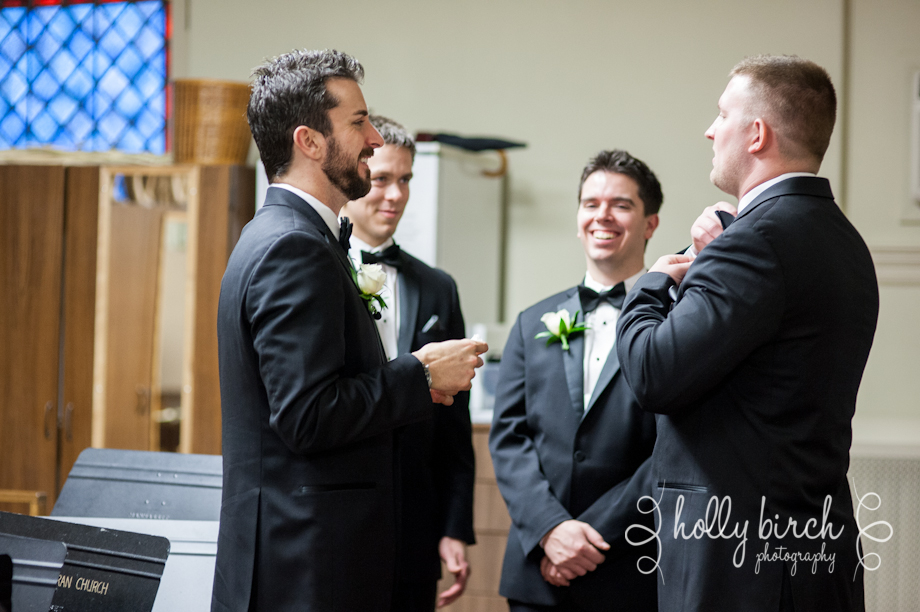 groomsmen hanging out in sacristy