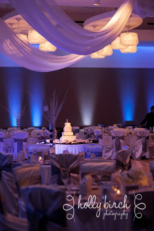 iHotel ballroom with blue uplights and cake spotlight